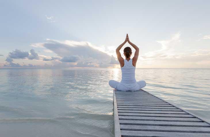 woman with pelvic organ prolapse meditating